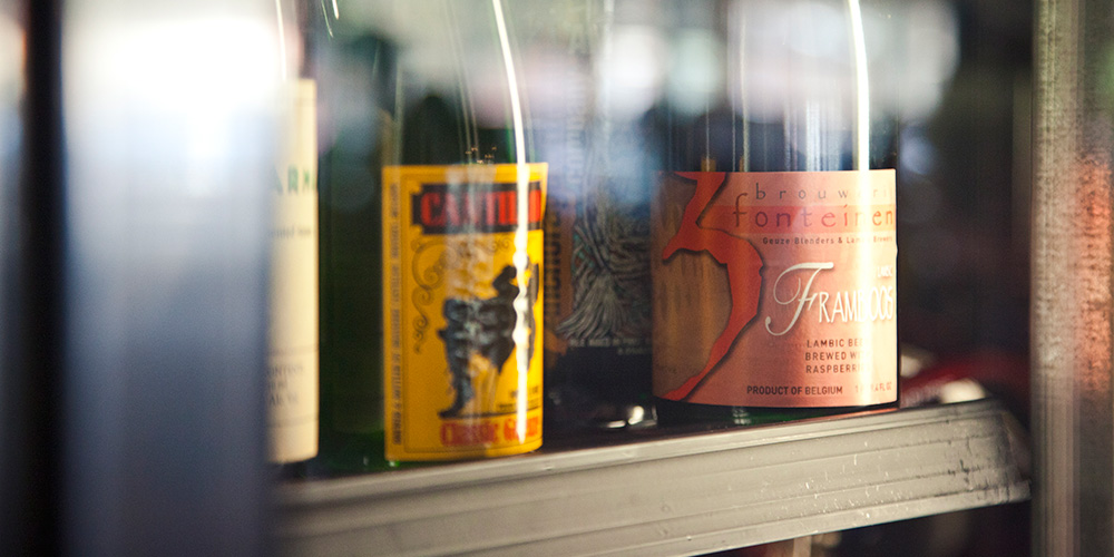 Several bottles of sour ales, including Cantillon and Drie Fonteinen, available from our cellar list