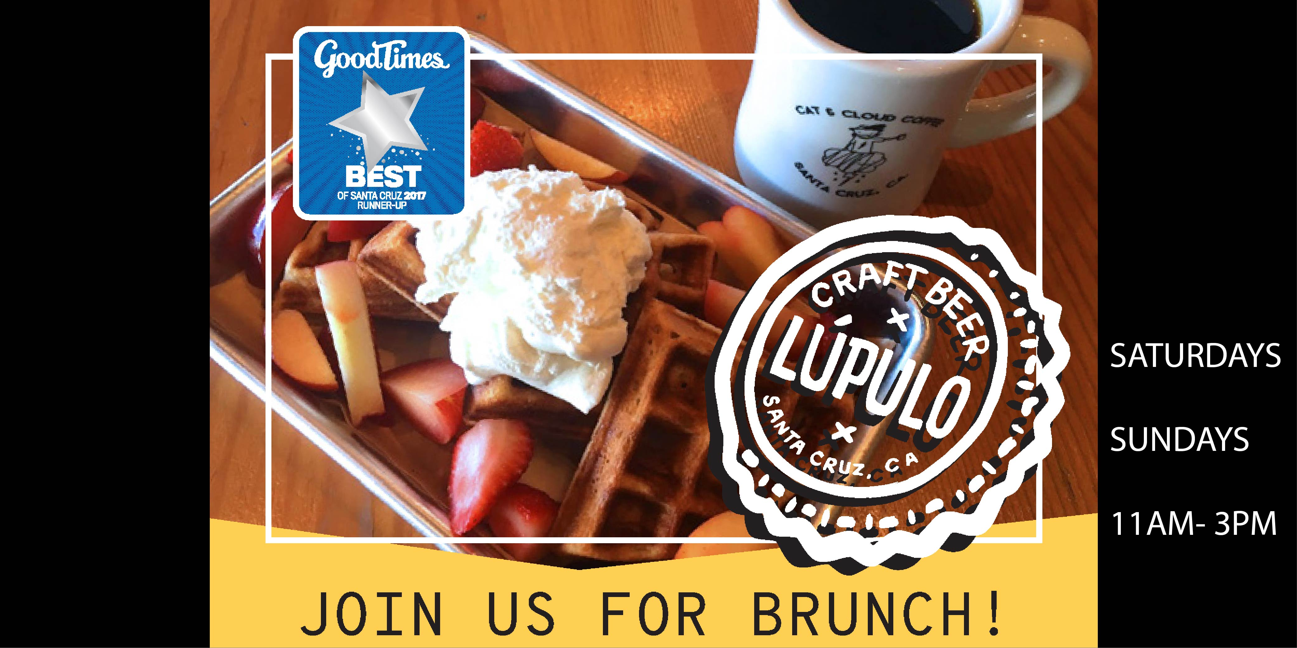 Sourdough Rye Waffle with whipped cream and fruit along with local coffee from Cat and Cloud, available along with the rest of our brunch menu every Saturday and Sunday from 11am to 3pm